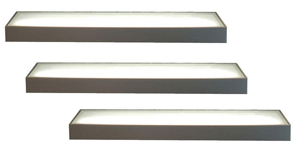 3er-Set LED Wandregal beleuchtet Glasbodenleuchte 90cm mit 2m Kabel und Schalter