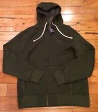 NWT Mens EDDIE BAUER Dark Green Fleece Lined Zip Up Hoodie Sweatshirt Medium $60