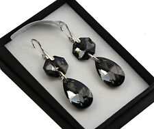 Long Sterling Silver Earrings made with Swarovski Crystals SILVER NIGHT