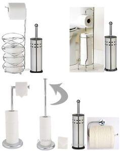54e6805e4275 New Toilet Brush & Paper Roll Holder Stand Set Chrome Free Standing ...