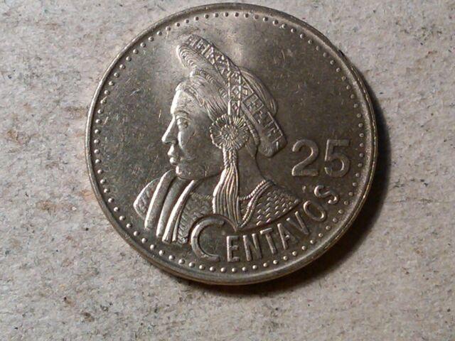 km278.5 Circulated Guatemala 25 Centavos 1989-95