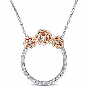 Amour Two-Tone Silver Created White Sapphire Floral Circle of Life Necklace