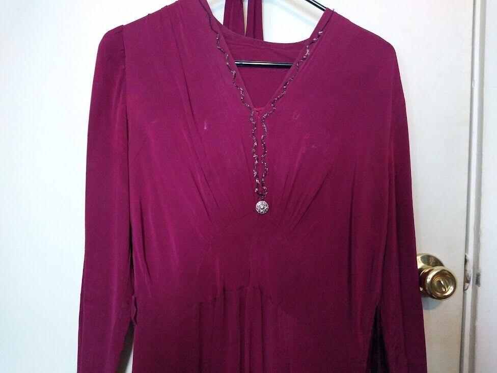 1940s magenta rayon dress w/ self-belt - image 2
