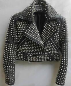 negro estilo cuero de de Chaqueta premium plata punk llenas con tachas 7F8waSq