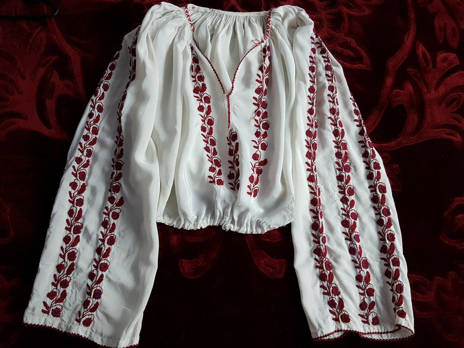 VINTAGE hand embroiderot Romanian blouse RESTORATION PROJECT