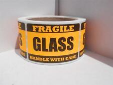 Fragile Glass Handle With Care 2x3 Orange Fluor Warning Sticker Label 250rl