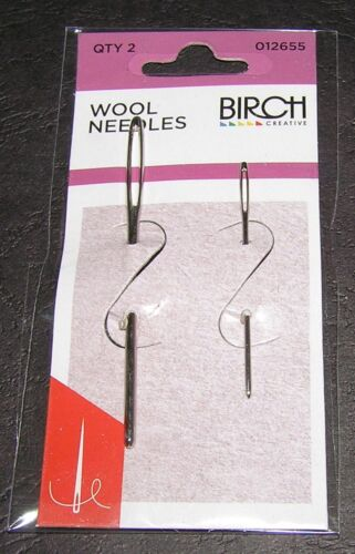 2 Wool Needles Hand Sewing Large Eye Birch Quality Knit Tapestry 13 18 Embroider