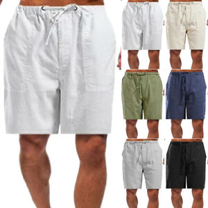 Mens-Summer-Cotton-Linen-Baggy-Drawstring-Shorts-Casual-Straight-Pant-Plus-Size