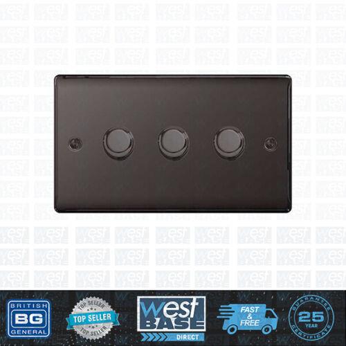 BG NEXUS METAL NBN83P Black Nickel Triple DIMMER Light Switch 3 Gang 2 Way