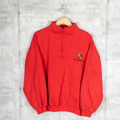 Porsche Vintage Sweatshirt Size Large Red Quarter