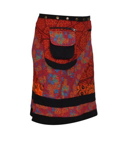 Women/'s Cotton Skirt Floral Print Button Closure Warp Mini Skirt