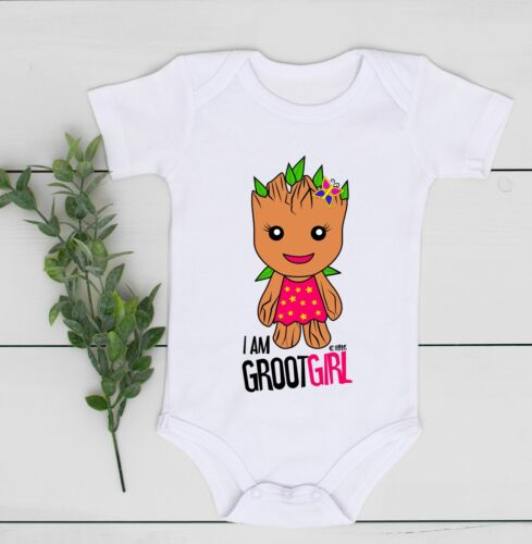 GUARDIANS GROOT GIRL 0-24 Baby Shower Gift Funny 100/% Cotton Bodysuits Babygrow