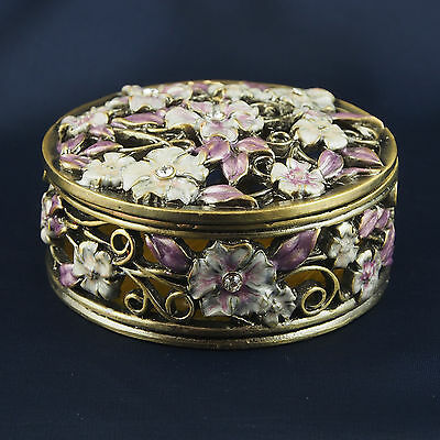 Round Flower Trinket Box Pewter Jewelled Crystals Mauve Pink Lift off lid 6cm