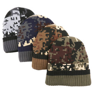 Camouflage Army Camo Beanie Cap Knit Winter Warm Cuffed Mens Women s ... f480189420