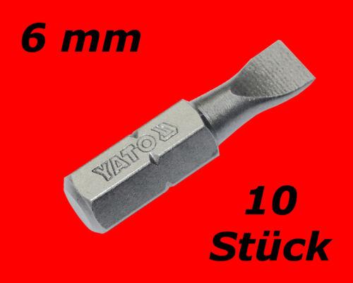 10 x Profi Schlitz Bits 6-mm Akkuschrauber Schraubendreher Satz S-2 Stahl Y7804