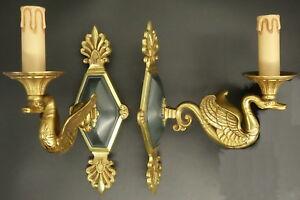 Paire D'appliques À 1 Feu, Aux Cygnes, Style Empire - Petitot - Bronze