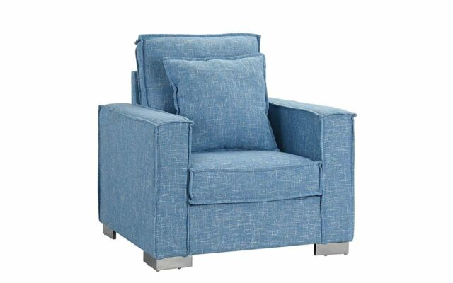 Modern Small Space Fabric Armchair, Living Room Accent Chair (Light Blue)