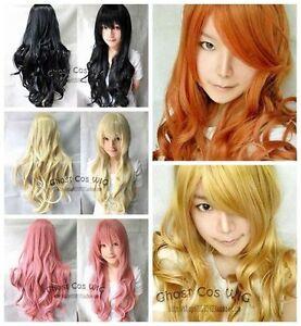28-034-Long-New-Black-Blonde-Pink-Warm-Blonde-Red-Orange-Rose-Red-Cosplay-Wavy-Wig