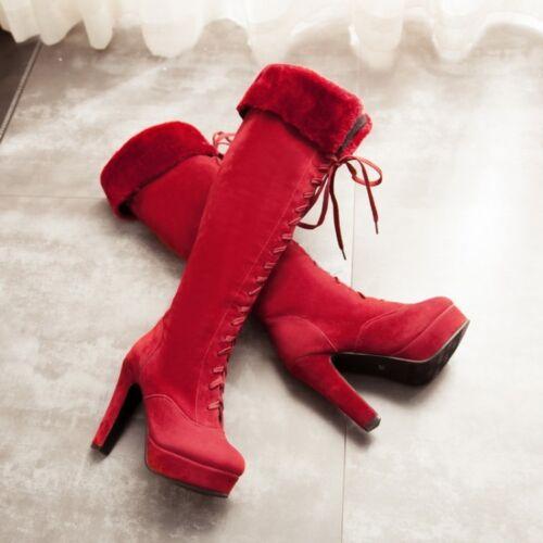 Confortable Talon Talons Aiguilles Cm Comme Chaud Cuisse Femme Bottes 12 Rouge 7qw84W1