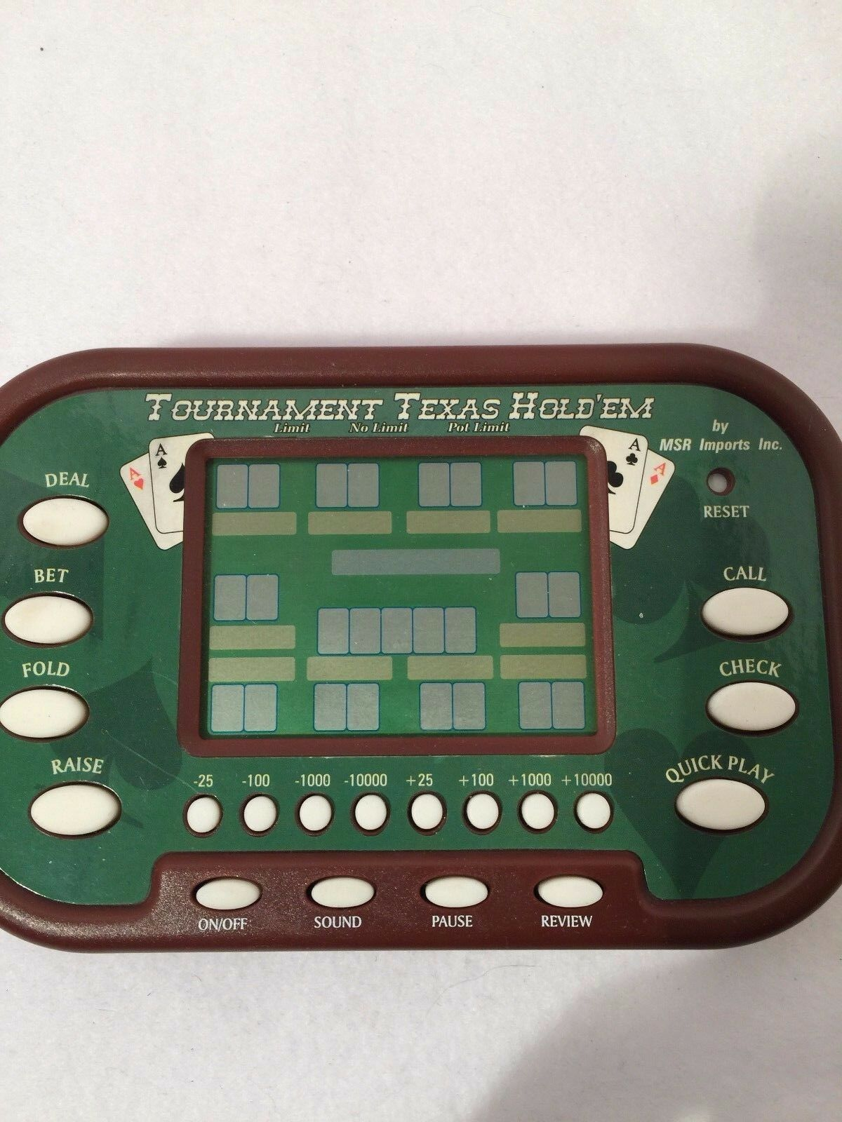 Texas Holld 'Em Tournament Hand Held Video Game MSR Imports Works Sound LCD