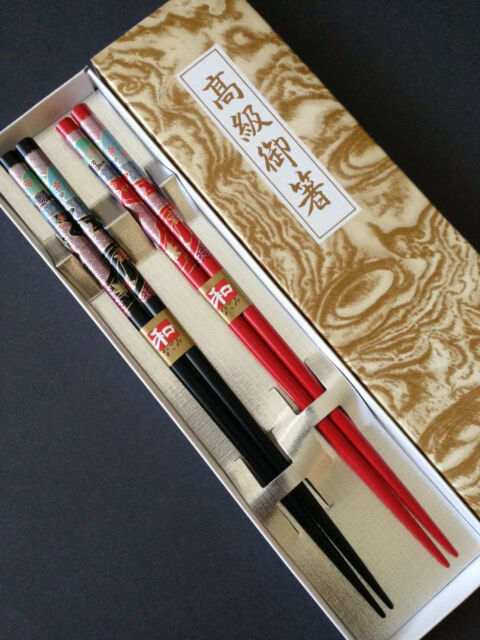 """Made in Japan 10 Pairs 9/""""L Japanese Durable Burgundy Lacquer Chopsticks Set"""