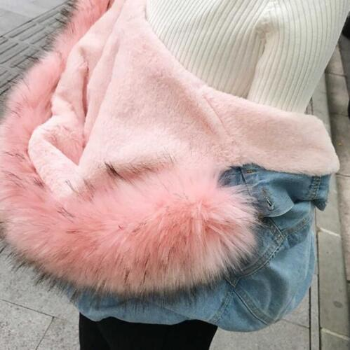 en femmes denim pour d'hiver en capuchon épaisseur col manteaux fourrure à Manteau double bt0 à adqHwz5xw