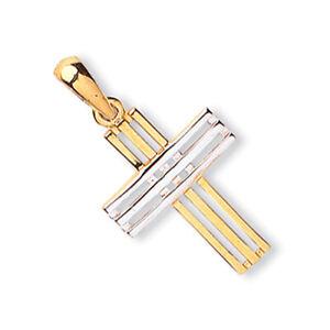 Zweifarbig-Gold-Kreuzanhaenger-9-Karat-Gelb-Und-Weissgold-Punziert-Britische
