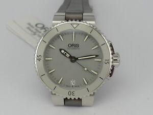 183b07dae293 New 36mm Oris Aquis GREY dial SS 300m diver women watch in box   eBay