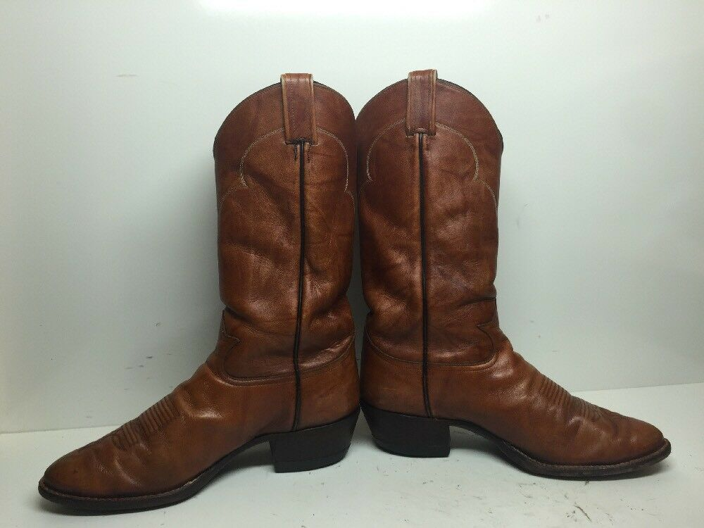 VTG MENS TONY LAMA COWBOY COWBOY COWBOY LEATHER BRICK Orange Stiefel Größe 9 EE 0b9c3c