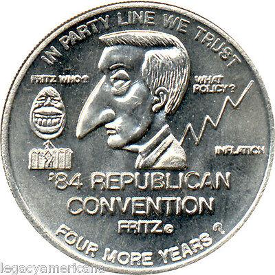 1984 Ronald Reagan Republican Convention Walter Mondale Satirical Token (1318)