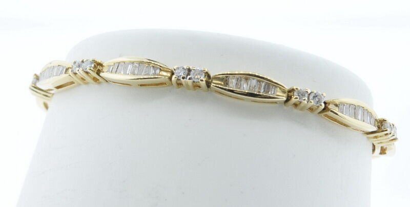 Ladies 14k Yellow gold 1 1 2 Cttw Diamond Baguette Round Tennis Estate Bracelet