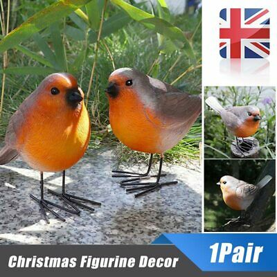 2pc Resin Robin Bird Set Garden Ornaments Decoration Patio Door Pond Sculpture