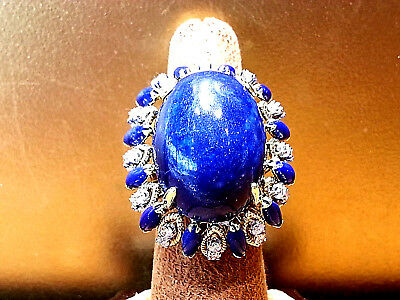 14K Yellow Gold Large blue Lapis and Diamond Coctail ring .RED CARPET!!!