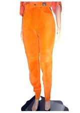 Versace New Women Vtg Orange High Waist Suede Mom Jeans Trousers Pants sz S AH66