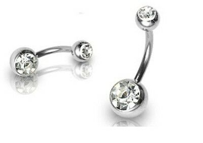STEEL BELLY NAVEL RING CLEAR CZ DOUBLE GEMS BUTTON PIERCING 14G B406 2 SIZES