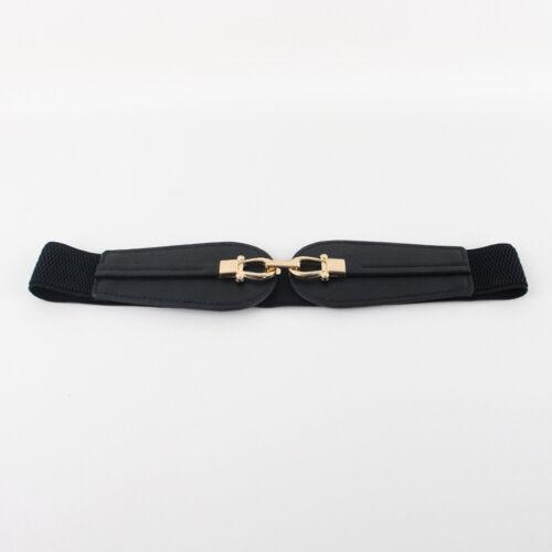 Frauen Elastische Gürtel stilvolle Gürtel Gold Doppel Schnalle Gürtel Kleid Bund