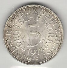 GERMANY, WEST, 1973-F, 5 MARK, SILVER,  KM#112.1,  CHOICE BRILLIANT UNCIRCULATED
