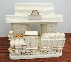 LENOX TRAIN At The Station Votive Tealight Candle Holder Porcelain W/ Gold Trim