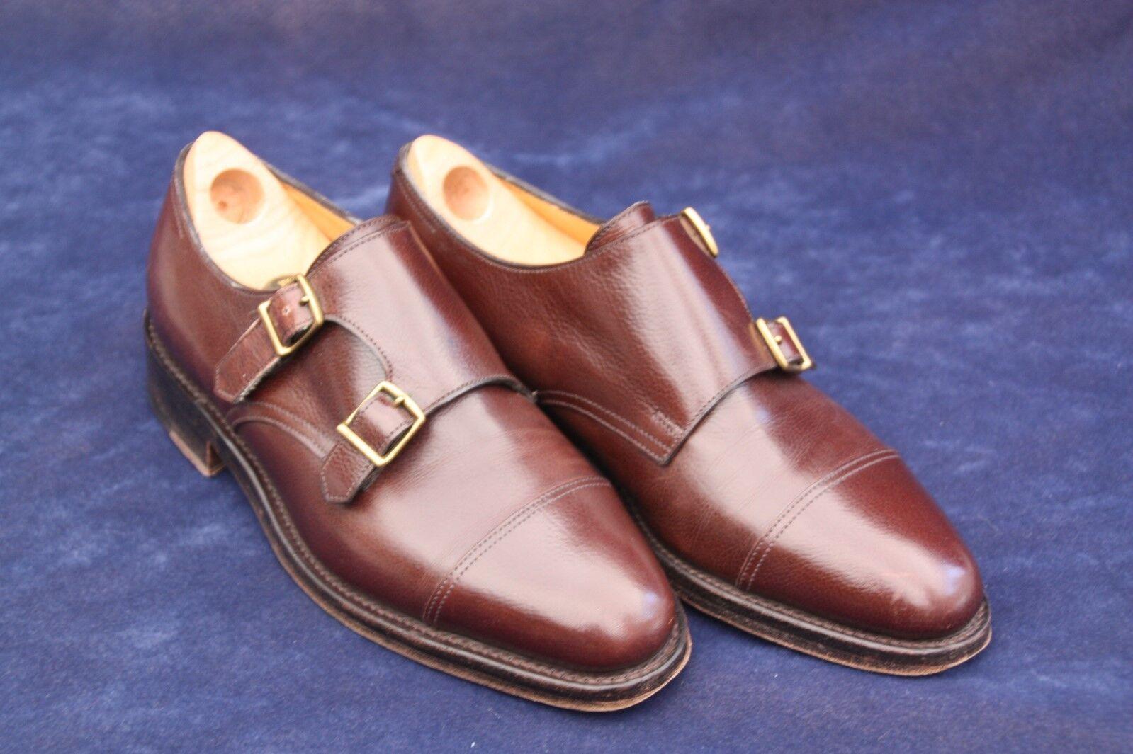 John Lobb Mens Marronee Monk Strap Oxfords 6E US Leather scarpe England + trees
