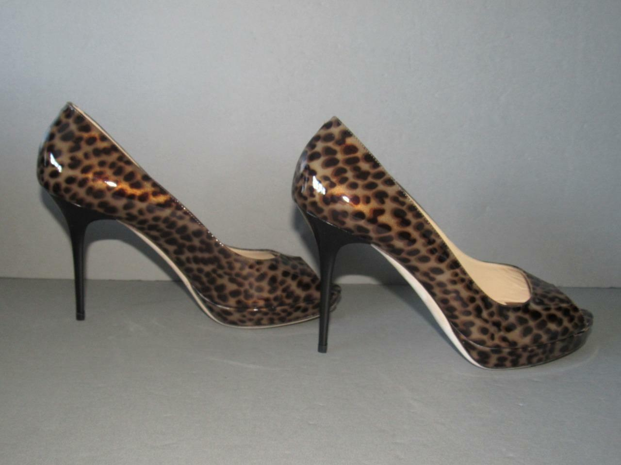 AUTHENTIC JIMMY CHOO NEW 39.5 LUNA LEOPARD PATENT PLATFORM PEEP TOE PUMPS SCARPE