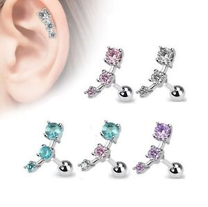 diamond piercing stud ear with