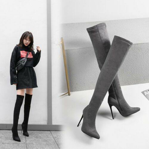 Womens Ladies Thigh High Over The Knee Boots Stiletto High Heel Boots Shoes Size
