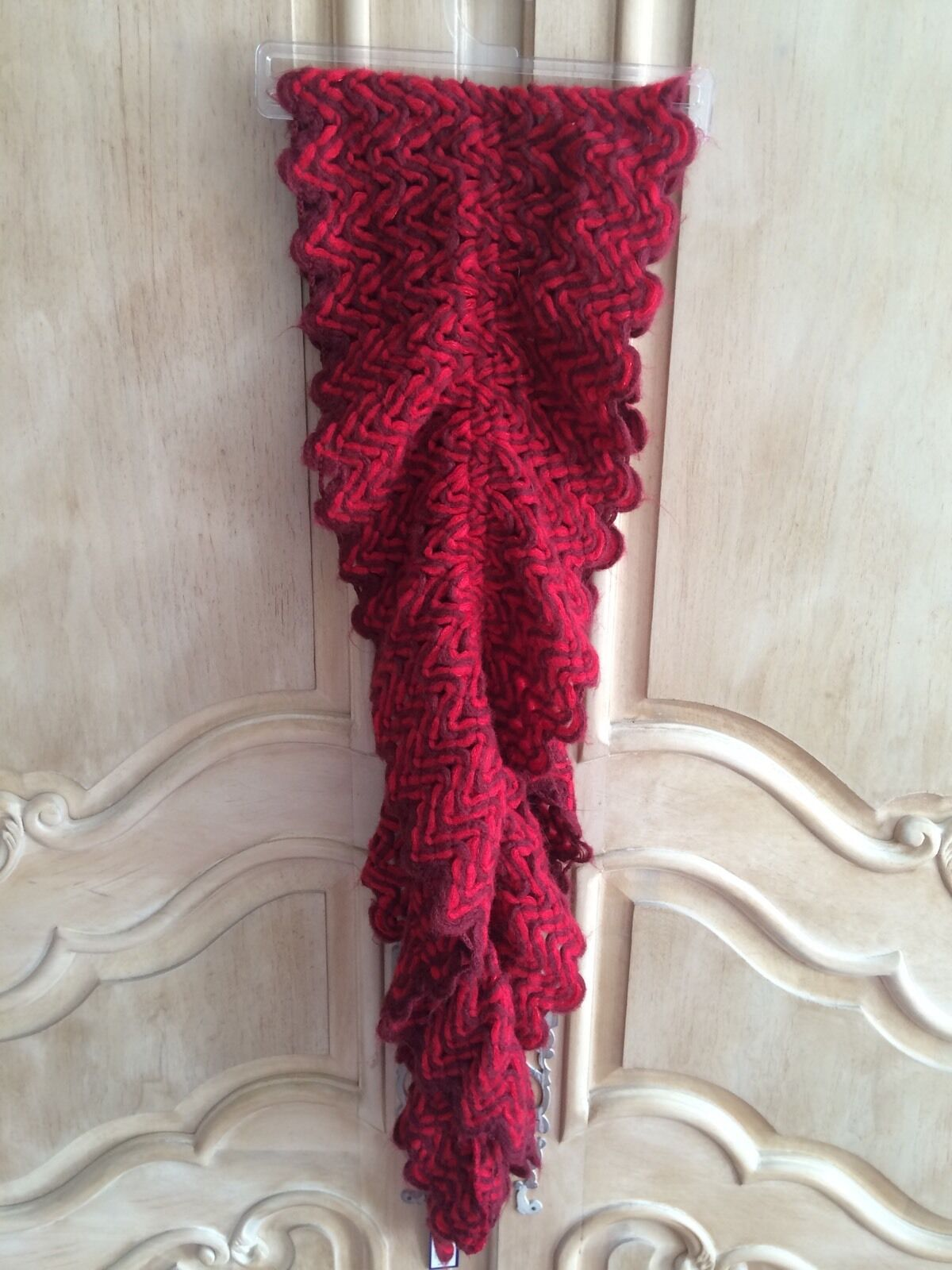 APT.9 Red and Burgandy Woven Outerwear Scarf. NWT