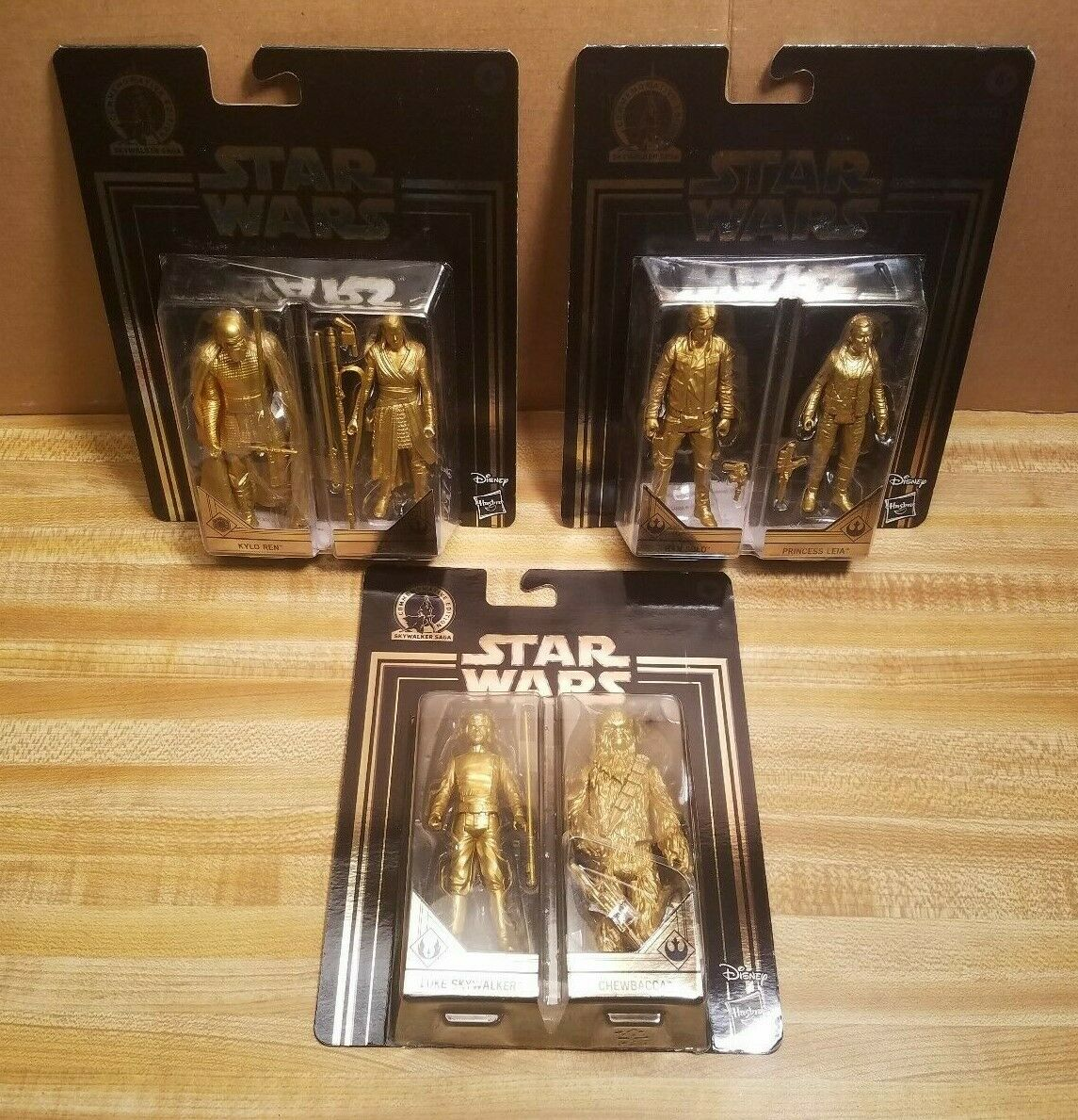 Star Wars Gold Action Figures Lot of 3 Two Packs SEALED 6 Characters Total RARE