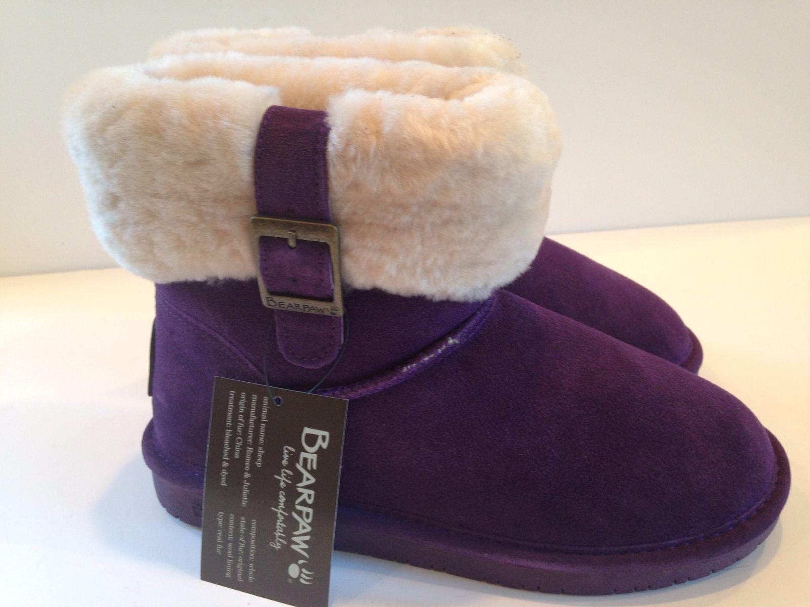 Bearpaw Women's Abby 1257W Winterberry Suede/Wool Blend Lining Size 6
