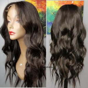 Natural Dark Brown Human Hair Wigs Lace Front Remy Indian Full Wig ... 961300d1236b