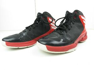 Black and red adidas boys basketball shoes