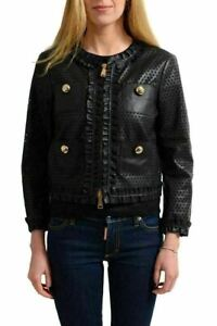 8df3c46989d2 Image is loading Dsquared2-Women-039-s-Black-Perforated-Leather-Button-