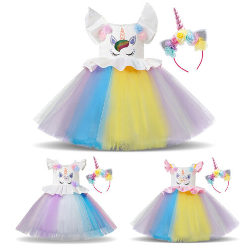 Girls Unicorn Costume Tutu Dress Birthday Party Gifts Headband Dresses Outfits