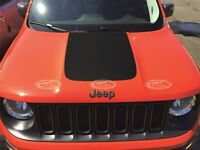 Jeep Renegade Trailhawk 2015 Front Hood Decal Inlay Cover Wrap Matte Black Vinyl